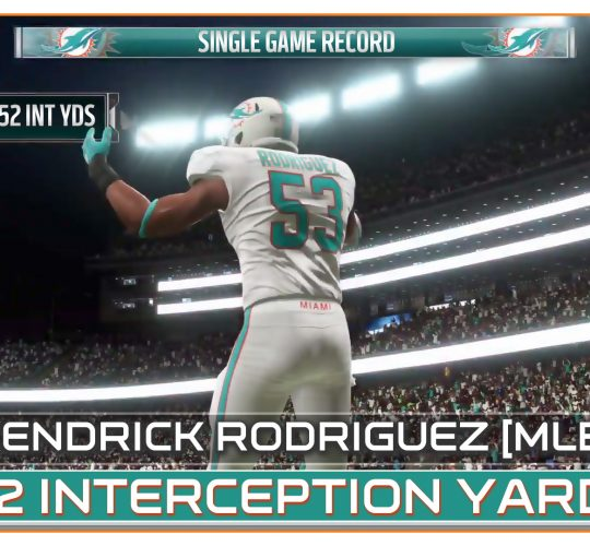 Kendrick Rodriguez 152 interception yards – Single game record in week 2 against Patriots