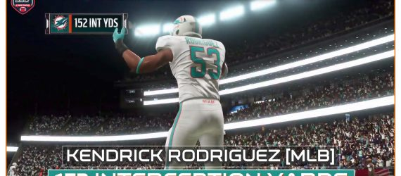 Kendrick Rodriguez 152 interception yards – Single game record in week 2 against Patriots